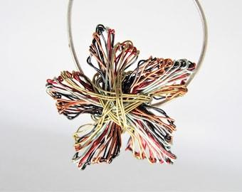 Orange blossom brooch, dress, wire flower brooch, cute pin, colorful, modern hippie, tiny sculpture art jewelry, Summer birthday gift women