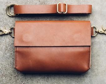 large hip bag + satchel in cognac // leather fanny pack // leather satchel // leather bag // magnetic closure