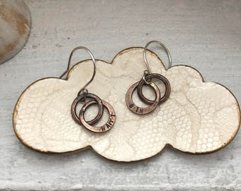 Personalized Bronze Anniversary Earrings Bronze Two Tiny Circles Together Earrings Infinity Earrings 8th and 19th Anniversary Gift