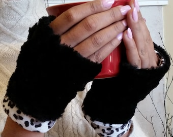 Black Faux Fur Half Mittens, Fingerless Gloves lined with leopard minky