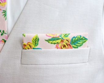 Pocket Square, Pocket Squares, Handkerchief, Mens Pocket Square, Boys Pocket Square, Blush Floral, Rifle Paper Co - Jardin De Paris Peony