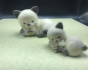 Ceramic Cat and Kitten Figurine Gray White Blue Eyes Bells Statue
