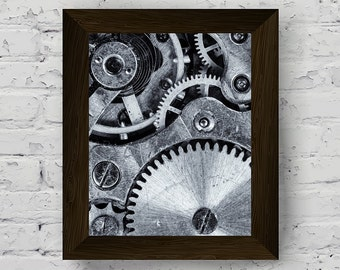 industrial photography, black and white prints, urban wall art, gear poster, printable artwork, wall art prints, instant digital download