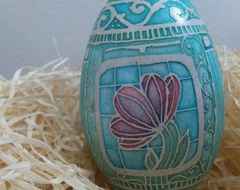 Pysanky, etched goose eggshell, design by GOPA 2018 Art Nouveau No13