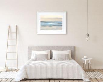 Blue ocean print Coastal decor wall art print Large wall art Zen minimalist abstract art Modern beach house decor Contemporary bedroom decor