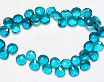 Cobalt Blue Hydro Quartz, Faceted Heart Shape Briolettes, 11mm Each, Blue Color Beads, Faceted Heart Beads, Gemstone For Jewelry SKU-1081