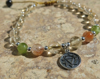 Solar Plexus Charm Bracelet - Manipura. Sterling Silver & Gemstones. Peridot, Citrine, Sunstone and Tourmaline. Adjustable