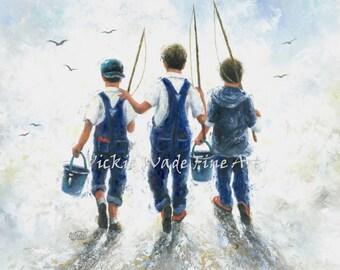 Three Boys Fishing Art Print, three brothers, paintings, going fishing, navy blue boys room wall art, farm boys, country boys,  Vickie Wade