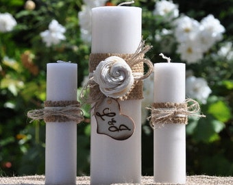 Personalized Rustic Unity Candle Set