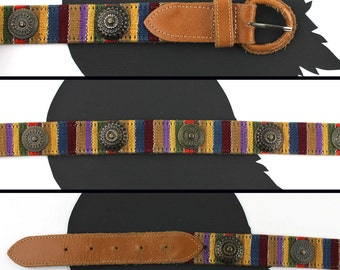 Tobacco Brown Leather Rainbow Braided Southwestern Belt