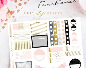 Marble Planner sticker - Erin Condren / Happy Planner / Kikki K A5, Personal ( Functional )