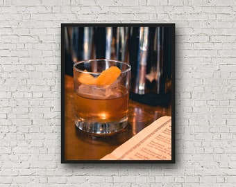 Old Fashioned Cocktail Print / Digital Download / Fine Art Print / Home Decor / Color Photograph / Drink Photography / Kitchen Print