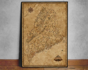Fantasy Map of Maine, Maine state map, ME map, Fantasy map Maine, Old Map of Maine, Vintage Maine Map, Maine Poster, State of Maine