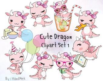 Cute Dragon set 1 clipart instant download PNG file - 300 dpi
