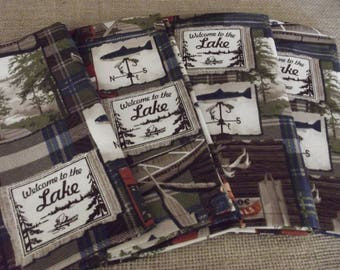 Welcome to the Lake, Blue and Green Plaid, Set of Four Handmade Cloth Napkins, Lake Decor, Fabric Napkins, Cotton Napkins, Dinner Napkins