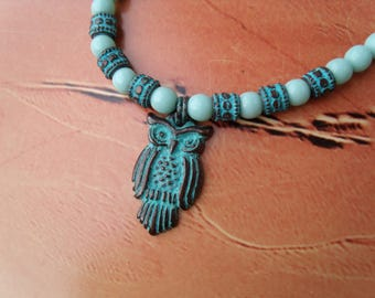 Tawny owl OWL NECKLACE patina Mint green round beads glass beads copper Greek ceramic