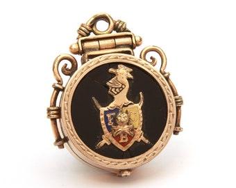 Knights of Pythias Fob Locket, Fraternal Lodge, Pythian Knight Fob, Antique Fob Locket, Pocket Watch Fob, Pythias FCB Motto, Collage Supply