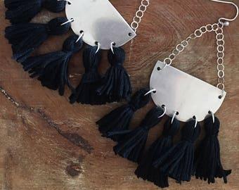 Sterling silver half moon and black tassel earrings