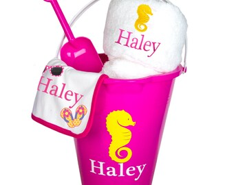 Personalized Beach Baby Gift Set - Sand Pail, Personalized Beach Bucket, Monogrammed Bath Towel Baby Gift Basket for Girl