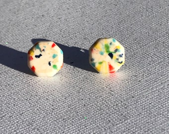Vintage Ivory Rainbow Confetti Stud Earrings