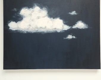 Original Painting, Acrylic Painting, Cloud Art, Cloud Painting, Landscape Painting, Painting on Canvas, Wall Art, Navy, Black, Grey