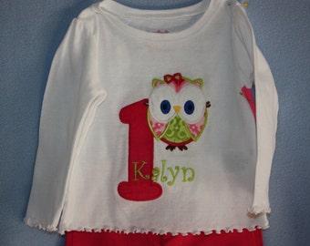 1st Birthday owl tshirt    or 2nd, 3rd, 4th birthday  short seleeves too