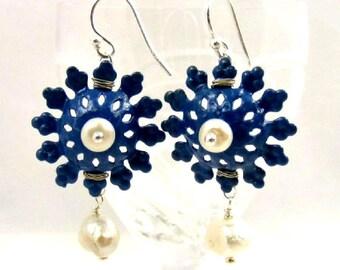Blue Earrings, Flower Earrings, White Pearl Earrings, Dangle Earrings, Enamel Earrings, Floral Earrings