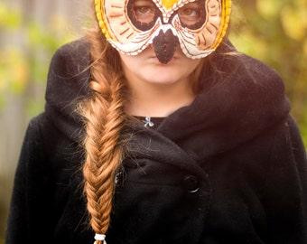 Owl Mask Handmade Yellow Felt Embroidered Details--Halloween Children Photography Prop Animal Costume