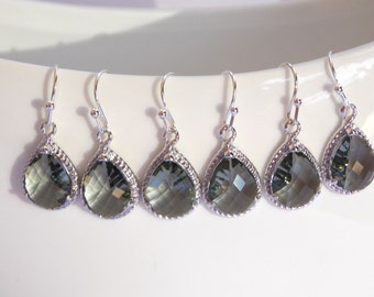 Wedding Jewelry, Bridesmaid Jewelry, Grey Earrings, Charcoal, Gray, Bridesmaid Jewelry, Bridesmaid Earrings, Drop, Silver Earrings, Dangle