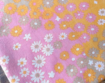 Vintage Sheet Fabric, Flower Sheet Fabric, Reclaimed Fabric, Pink And Orange Flowers, French Sheet Fabric, Patchwork & Quilting Fabric