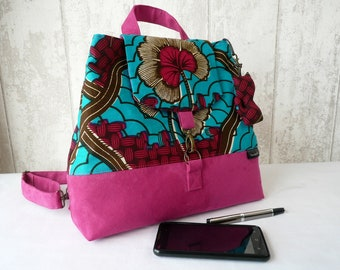 Ladies backpack , pink and blue bag, african tote