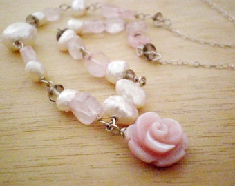 Sterling silver pearls necklace, Pearl Wedding Necklace