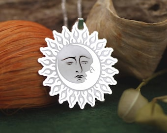Sterling Silver Eclipse Necklace, Silver Eclipse Necklace, Silver Sun  and Moon Necklace, Celestial Necklace, Solar Charm, Boho Necklace