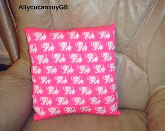 Knitted ''Elephants'' cushion cover complete with infill. Kids ,,Elephants'' Cushion. Hand made cover and infill.