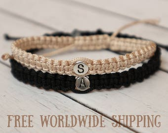 Set of Initials Bracelet, Couples bracelet, Knotted bracelet, Anniversary Bracelet, Personalized braided bracelet, His Hers Knotted bracelet