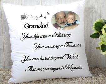 """Personalised remembrance Memory cushion cover 16""""x16"""" (40cmx40cm) gift name photo"""
