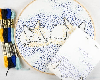 DREAMING FOXES embroidery kit - hand embroidery kit, foxes, twins, nursery art, embroidery hoop art, beginner embroidery kit by StudioMME