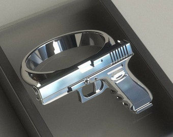 Simple Sterling Silver Gun Ring - Custom Engraved option available