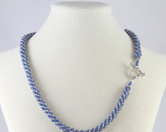 Russian Spiral Beaded Necklace in Denim Blue