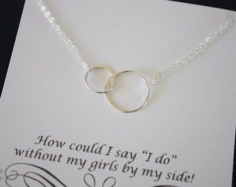 2 Infinity Bridesmaid Necklace, Double Ring Bridesmaid Gift, Thank You Card, Sterling Silver Karma Necklace, Double, Connected Ring, Karma