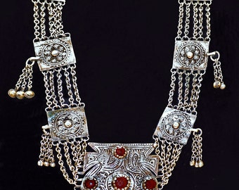 Fabulous Vintage Turkmen Chain & Disc Necklace