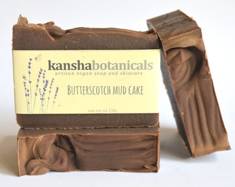 BUTTERSCOTCH MUD CAKE Soap, vegan soap, cold process soap, handmade soap Australia, artisan soap