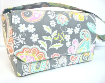Large 4 inch Size Coupon Organizer Coupon Bag Budget Holder Box Attaches to Your Shopping Cart Oh Yah Gray Paisley Floral - Select Your Size
