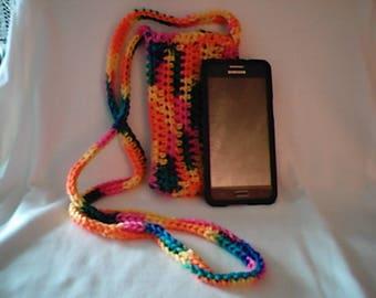 Crochet Cross Body Cell Phone Pouch Cozy in Bikini