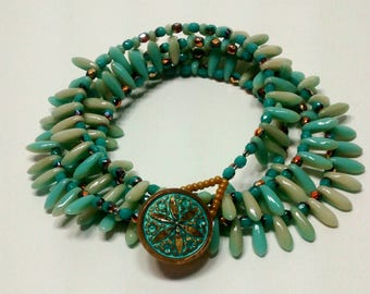 Mint and Ivory Dagger Bead Wrap Bracelet
