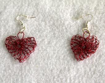 Red Crocheted Wire Heart Earrings