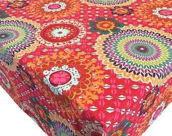 French Tablecloth, Red Tablecloth, Gray Tablecloth, Colorful Tablecloth, Medallions