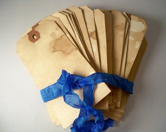 200 LARGE Escort Cards. Vintage Hang Tags. Gift Tags. Anthropologie Travel Theme Wedding Invitation Save The Date. Stained.  LIGHT.