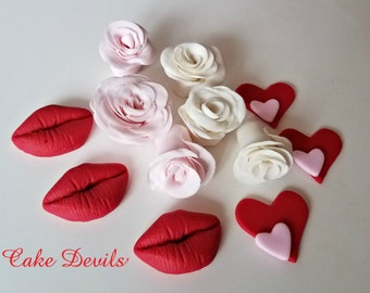 Hearts & Lips Cupcake Toppers, Roses, Hearts, Lips, Fondant Edible Valentine's Day Cake Decorations, Red, White, Pink, Kiss, Sweetheart