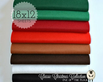 Classic Christmas Felt Collection, Wool Blend Felt, Wool Felt Sheets, Wool Felt Fabric, Felt Fabric Bundles, Wool Felt, Christmas Felt